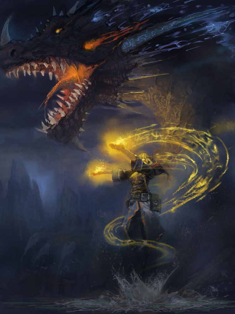 Dance with the Dragons - Dark Fantasy Art Featuring lin bo