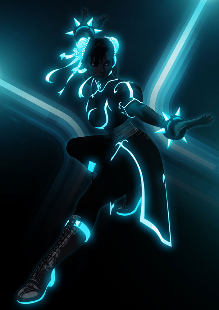 Mind Blowing Tron Inspired Street Fighter Art Featuring BossLogic