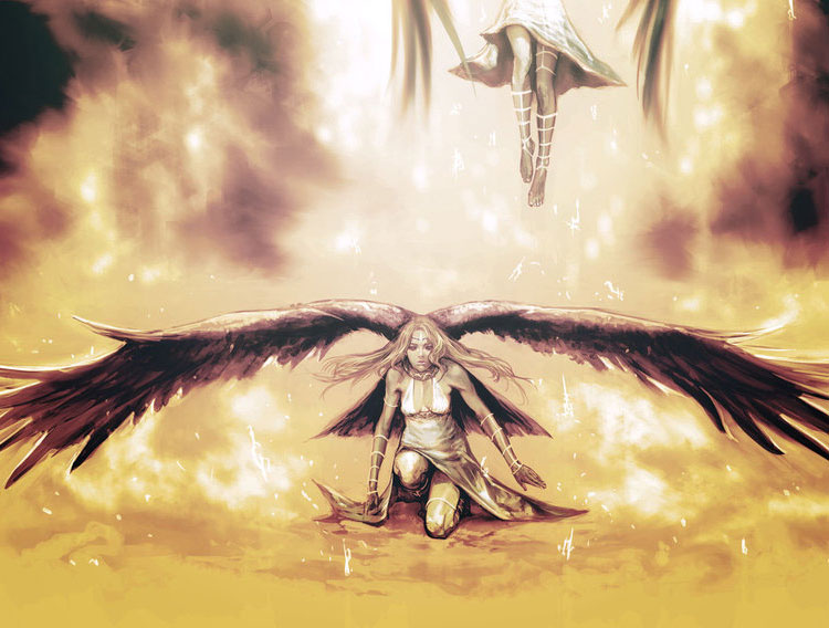 The Angels Have Fallen, Beautiful Fantasy Art by Masateru Ikeda